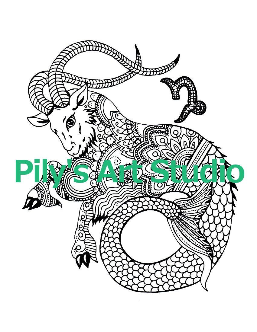 Instant download pdf capricorn zodiac signs coloring page for Capricorn coloring pages