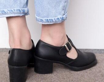 Vintage Black Mary Jane Shoes UK4