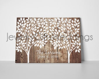 """Custom / Personalized Rustic Wedding Tree Canvas """"Guestbook"""" 