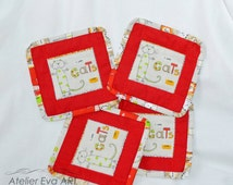 Cat mug rug,Patchwork mug rug,red mug coaster,square cat mug coaster,Quilted Individual coaster,Set of 4 Mug Rugs/office gifts Handmade