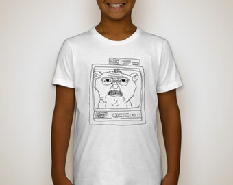 Youth American Apparel White T-Shirt - Dad as a Teddy Bear on TV