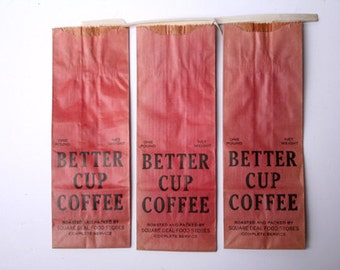Vintage Better Cup Coffee Bags - Ephemera - General Store - Altered Art - Mixed Media - Assemblage - Scrapbooking
