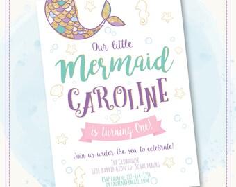 20% OFF Mermaid Invitation Mermaid Birthday Invitation Gold Sparkle Mermaid Invitation Under The Sea Invitation Mermaid Birthday Party