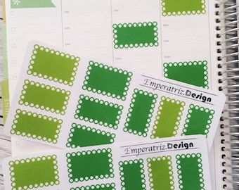 20 green halfboxes (white circles) for eclp,planner,filofax,journal