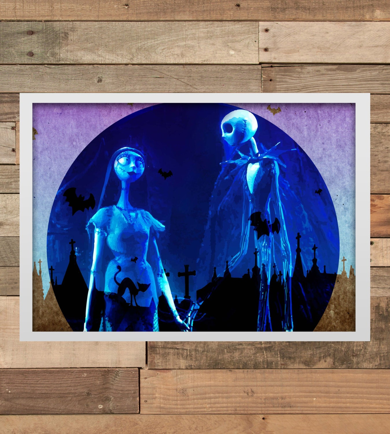 nightmare before christmas wall art print home decor. Black Bedroom Furniture Sets. Home Design Ideas