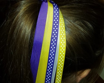 Purple, Yellow, and White Ponytail Streamers, Ponytail Holders