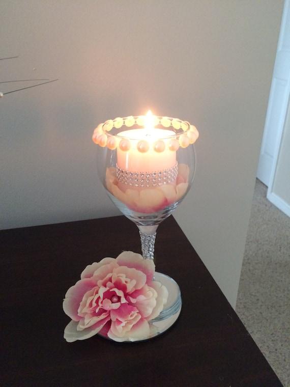 Wedding wine glass candle holder decorations