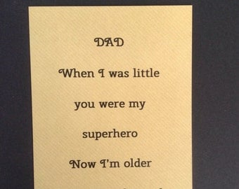 Card for dad's birthday, Father's Day card, blank card for dad, dad is my superhero card