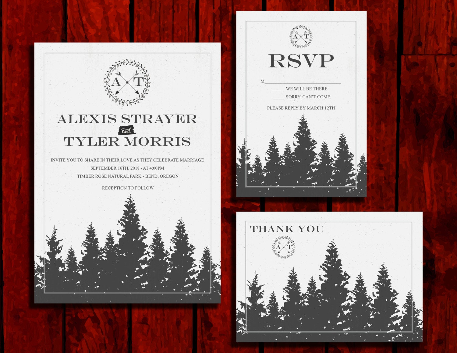 Vintage Forest: Wedding Invitation Suite; Print at Home Wedding ...
