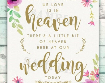 Memorial Sign for Wedding, Someone We Love is in Heaven - a Little Bit of Heaven at Our Wedding, In Loving Memory, Wedding Memorial Sign