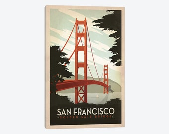 Canvas Wall Print of American Cities - San Francisco, California - Gallery Wrapped Canvas Style Wall Decor- Beautiful Framed Pop Art Artwork