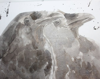Corvids in watercolour Ravens