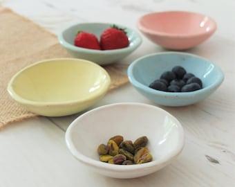 Handmade tiny ceramic dish, dipping dish, prep bowl, jewelry dish, ring dish, handmade gift, pastels, housewarming gift, pottery bowl