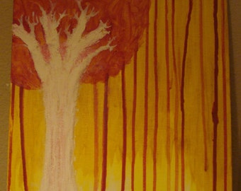 Yellow sky, Orange tree painting, Acrylic picture. Bleeding sky, painting by Jeremy M