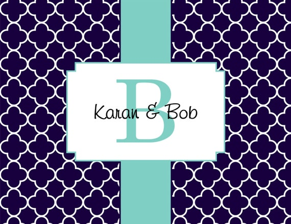 Item #10018 Navy Quatrefoil, classic with a pop of trendy color.