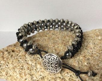 Fancy Silver Black Bracelet