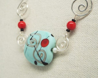 Hammered silver chain spiral pattern with bright red beads and turquoise blue glass pendant - Cherry Soda