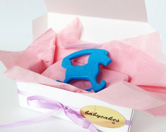 Vintage Baby Teether - Blue Rocking Horse
