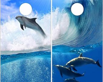 Dolphins Wave Cornhole Wrap Bag Toss Decal Baggo Skin Sticker Wraps