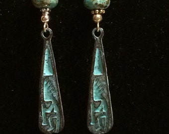 Kokopali earrings- Southwest jewelry - Tribal - Native American jewelry - Turquoise earrings