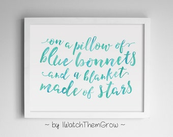 """Dixie Chicks Country Song Lyrics Wall Art Print / Aqua Watercolor Printable """"A blanket made of stars"""" 8x10 AND 11x14 INSTANT DOWNLOAD"""