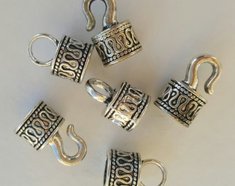 Kumihimo 8mm Hook & Eye Glue In End Caps/Clasps Antique Silver Tone, 3 pairs