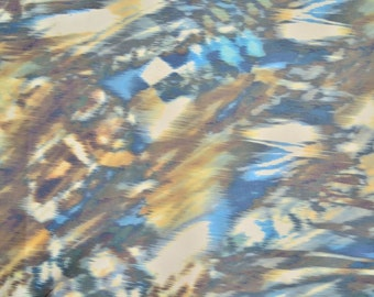 Printed Leather 80 cm x 50cm Italian Soft Blue Brown Abstract Hide Genuine Leather Hide 1,1 mm Thickness Printed Leather Hide Print 10060
