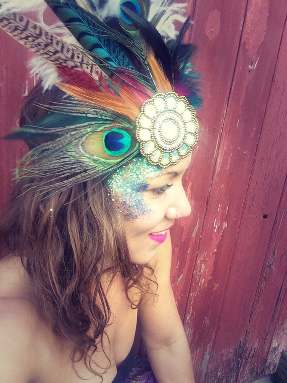 pink feather peacock and pheasant feather headdress flapper