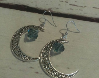 Summer Sale Moon charm earrings. Blue earrings. Moon dangle earrings. Moon jewelry. Crescent moon earrings.