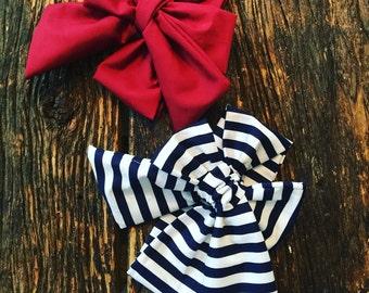 Big Bow Headwraps/Headbands Red & Blue/White Stripe