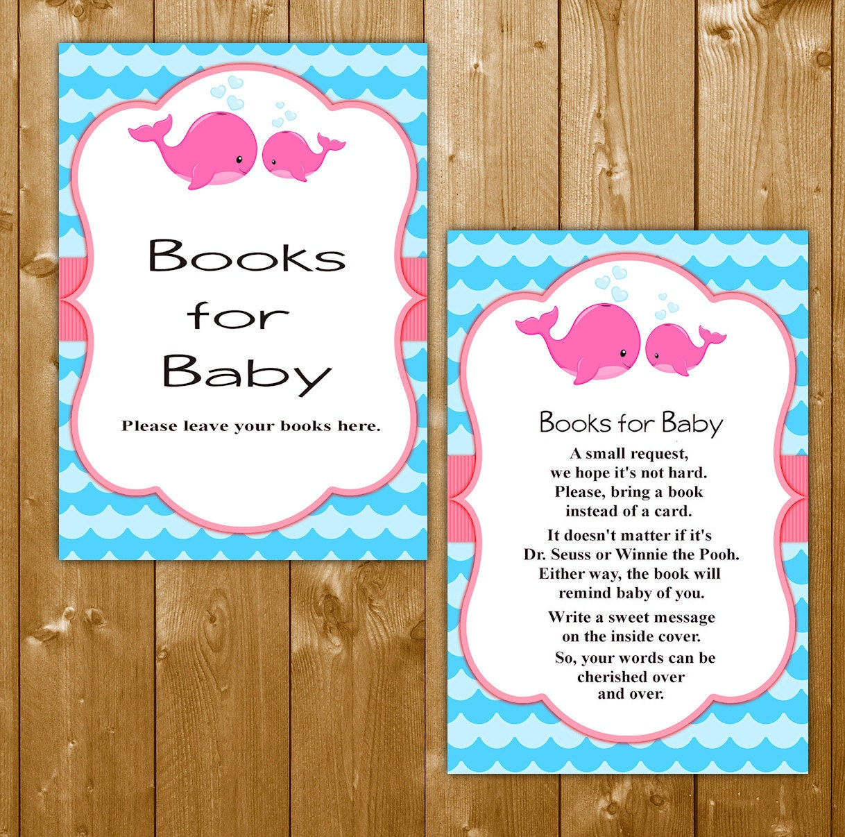 whale books for baby pink baby shower book request insert