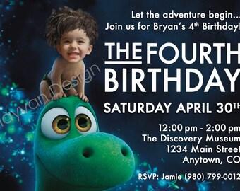 The Good Dinosaur, BOY OR GIRL The Good Dinosaur Birthday Invitation, Customized Photo Birthday Invite Good Dinosaur Theme, Birthday Invite