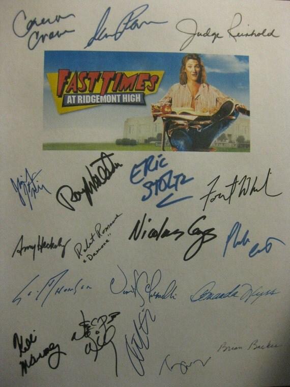 Fast Times at Ridgemont High Signed Film Movie Script Screenplay x19 Autographs Sean Penn Jennifer Jason Leigh Judge Reinhold Nicolas Cage