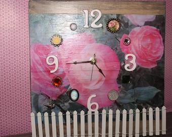 Whimsical Pink Rose Garden Clock