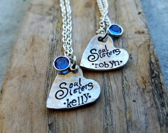 Personalized stamped sister necklace set. Big sister little sister gift set. Soul sister necklaces. Bridesmaids gifts. Best friend gift set
