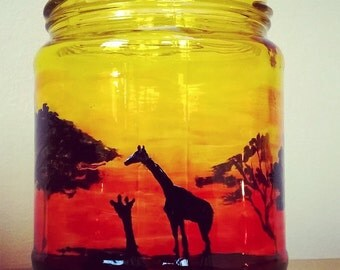 Hand Painted Jar, Candle Holder. Silhouette of African Sunset with Giraffes and Trees