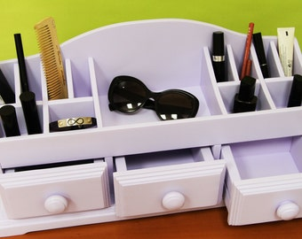 Wooden Jewelry and Cosmetic Storage Makeup Organizer, Hand made !