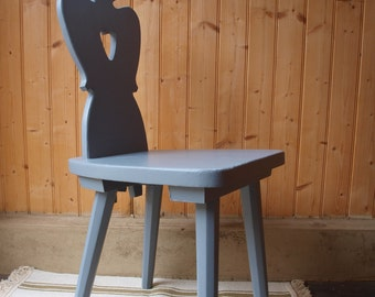 Vintage heart cut out wooden chair