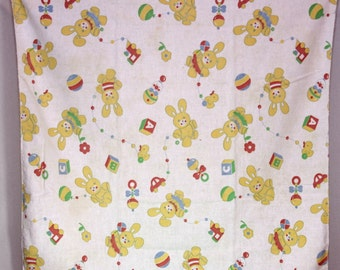 Vintage  Baby Blanket Bear with ABC Blocks,Balloons, Train, Duck, and Craft Reclaimed, Sewing, Repurposed