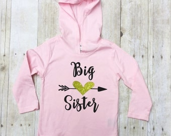 Big Sister Hooded Pullover-Big Sister Hoodie-Big Sister Black Glitter and Gold Glitter-Big Sister Announcement-New Baby Announcement Shirt