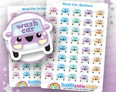 40 Cute Wash Car Planner Stickers, Filofax, Erin Condren, Happy Planner,  Kawaii, Cute Sticker, UK