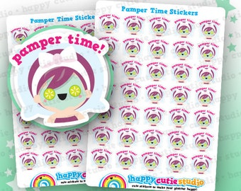 35 Cute Pamper Time/Relax/Me Time Planner Stickers, Filofax, Erin Condren, Happy Planner,  Kawaii, Cute Sticker, UK