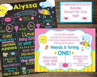 Itsy Bitsy Spider chalkboard, itsy bitsy spider birthday, itsy bitsy spider invite, invitation, itsy bitsy spider first birthday, 2nd, 3rd