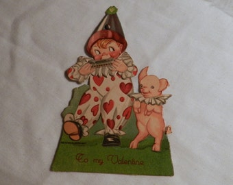 Vintage Valentine - Printed in Germany - Collectible Mechanical Card with clown boy and dancing pig - To My Valentine - Ephemera       2-24