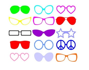Sunglasses SVG  ,eyeglasses Cut files, sunglasses silhouette clipart digital download