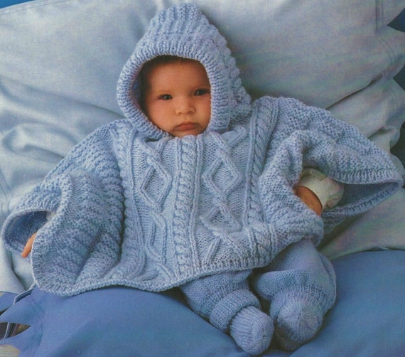 Aran Knitting Pattern With Hood : Baby Poncho Aran Knit Hooded Poncho Knitting Pattern. PDF
