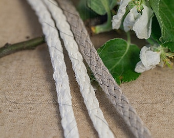 Natural linen cord 6 mm, 3 meter - 3,27 yards or 9,84 feet,  3 colours available