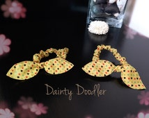 A Pair of Yellow Heart Print Bunny Ears Hair Scrunchie / Elastic Bobble / Hair Accessory / Beauty / Gift