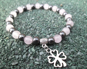 A Handcrafted 6mm Hematite and Rose Quartz Gemstones Bracelet