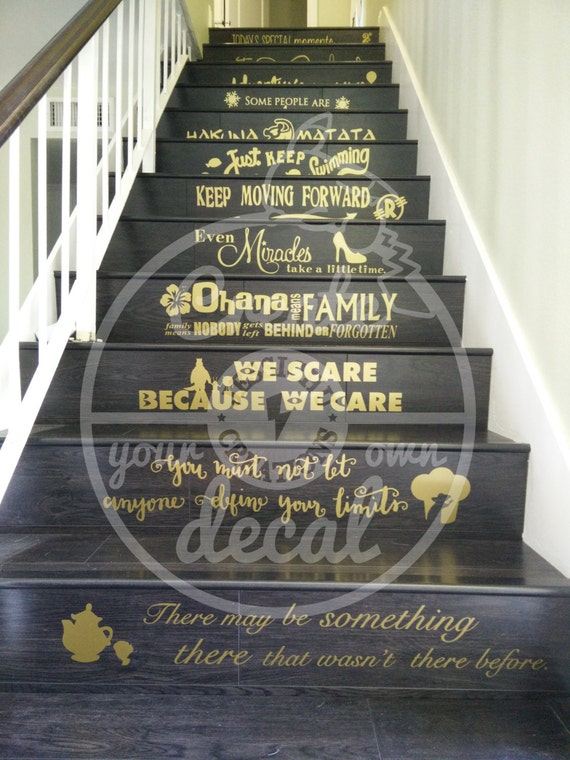 Disney stairs custom vinyl decal we do disney in this for Decoration maison mickey